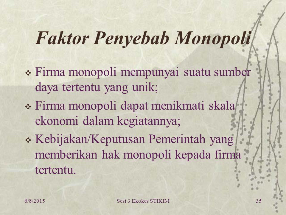 Faktor Penyebab Monopoli