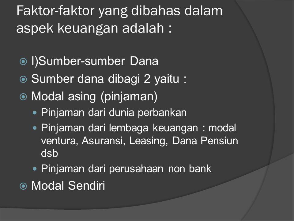 Faktor-faktor yang dibahas dalam aspek keuangan adalah :