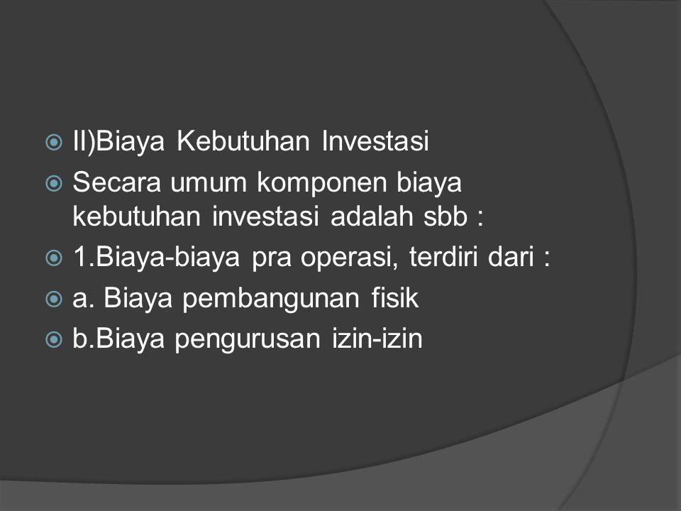 II)Biaya Kebutuhan Investasi