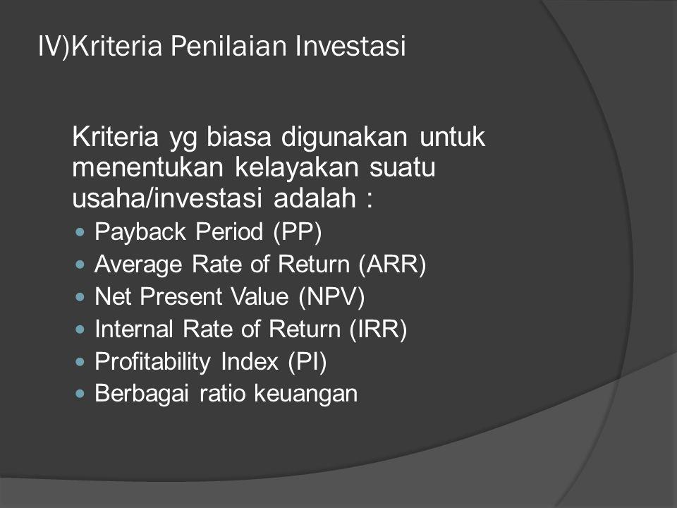 IV)Kriteria Penilaian Investasi