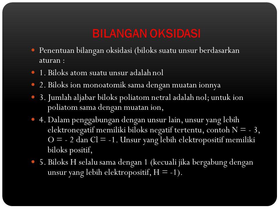 BILANGAN OKSIDASI Penentuan bilangan oksidasi (biloks suatu unsur berdasarkan aturan : 1. Biloks atom suatu unsur adalah nol.