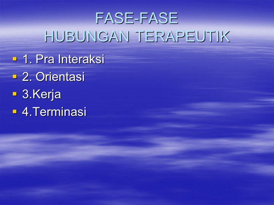 FASE-FASE HUBUNGAN TERAPEUTIK