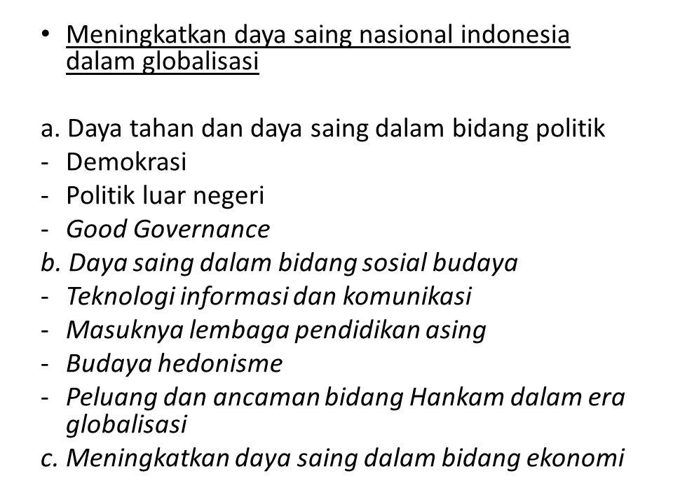 Meningkatkan daya saing nasional indonesia dalam globalisasi