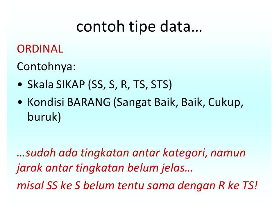 contoh tipe data… ORDINAL Contohnya: Skala SIKAP (SS, S, R, TS, STS)