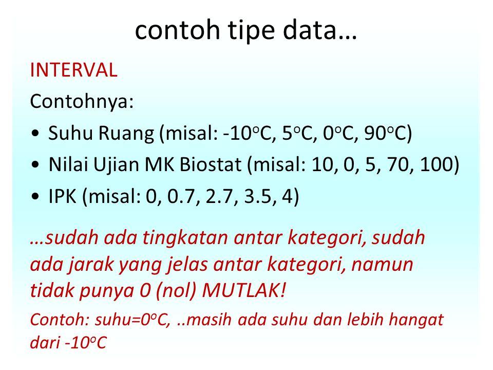 contoh tipe data… INTERVAL Contohnya: