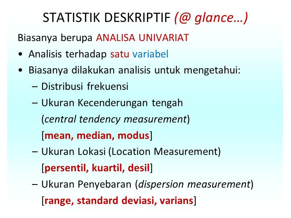 STATISTIK DESKRIPTIF (@ glance…)