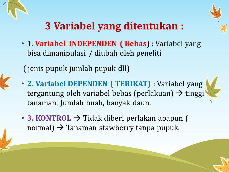 3 Variabel yang ditentukan :