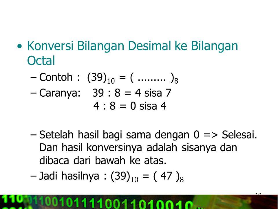 Konversi Bilangan Desimal ke Bilangan Octal