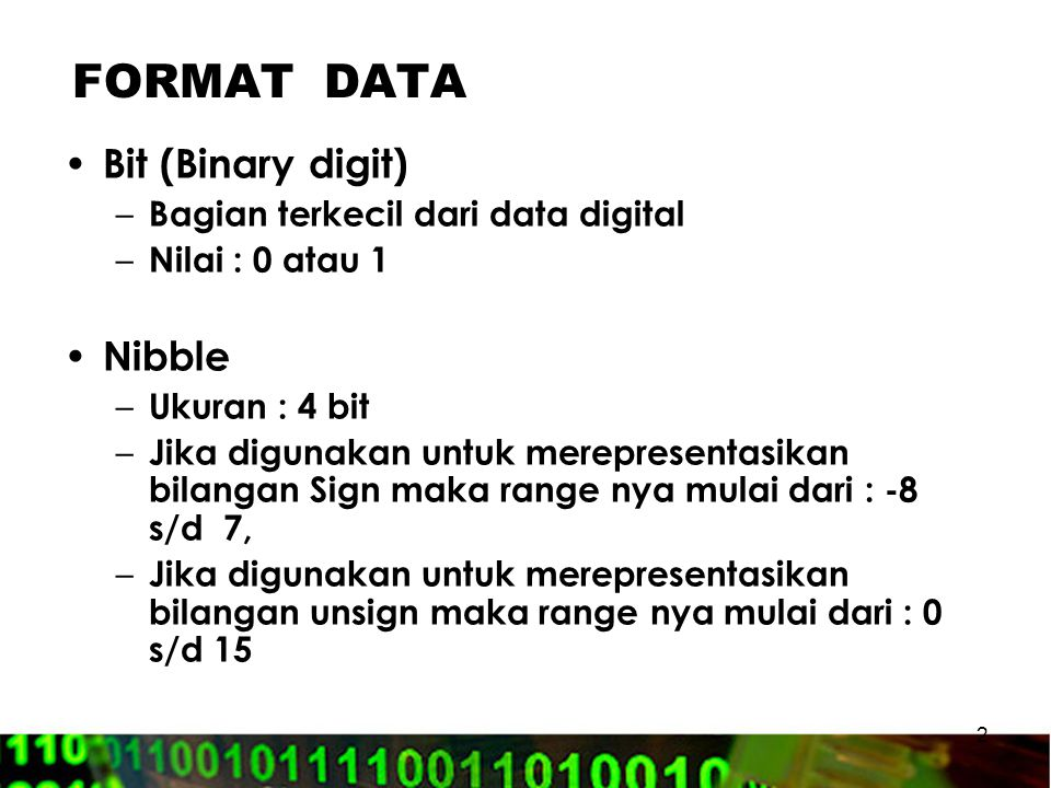 FORMAT DATA Bit (Binary digit) Nibble