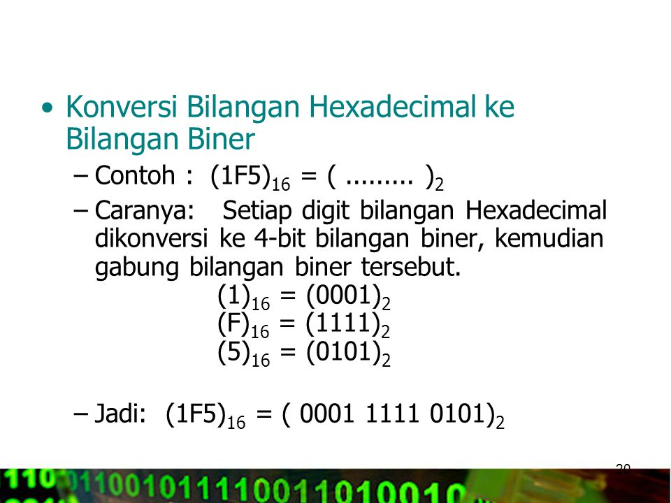 Konversi Bilangan Hexadecimal ke Bilangan Biner