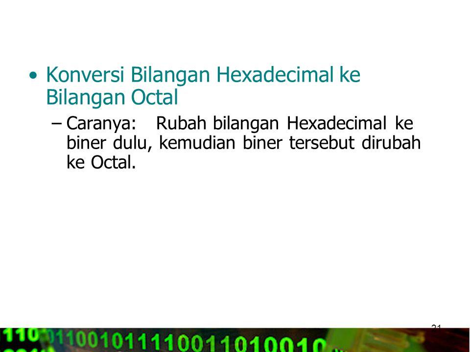 Konversi Bilangan Hexadecimal ke Bilangan Octal