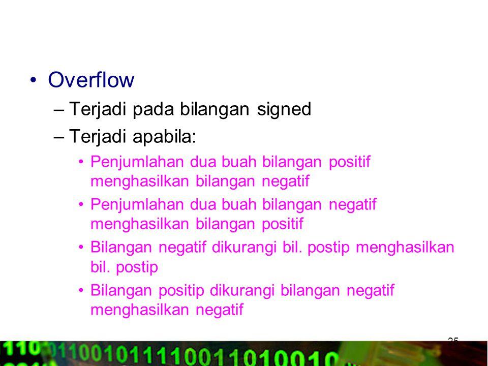 Overflow Terjadi pada bilangan signed Terjadi apabila:
