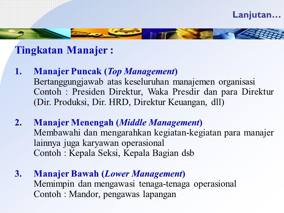 Tingkatan Manajer : Lanjutan… Manajer Puncak (Top Management)