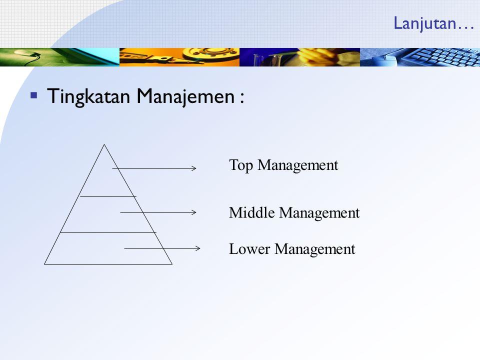 Tingkatan Manajemen : Lanjutan… Top Management Middle Management