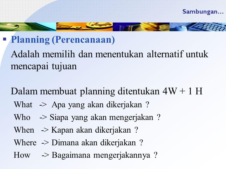 Planning (Perencanaan)
