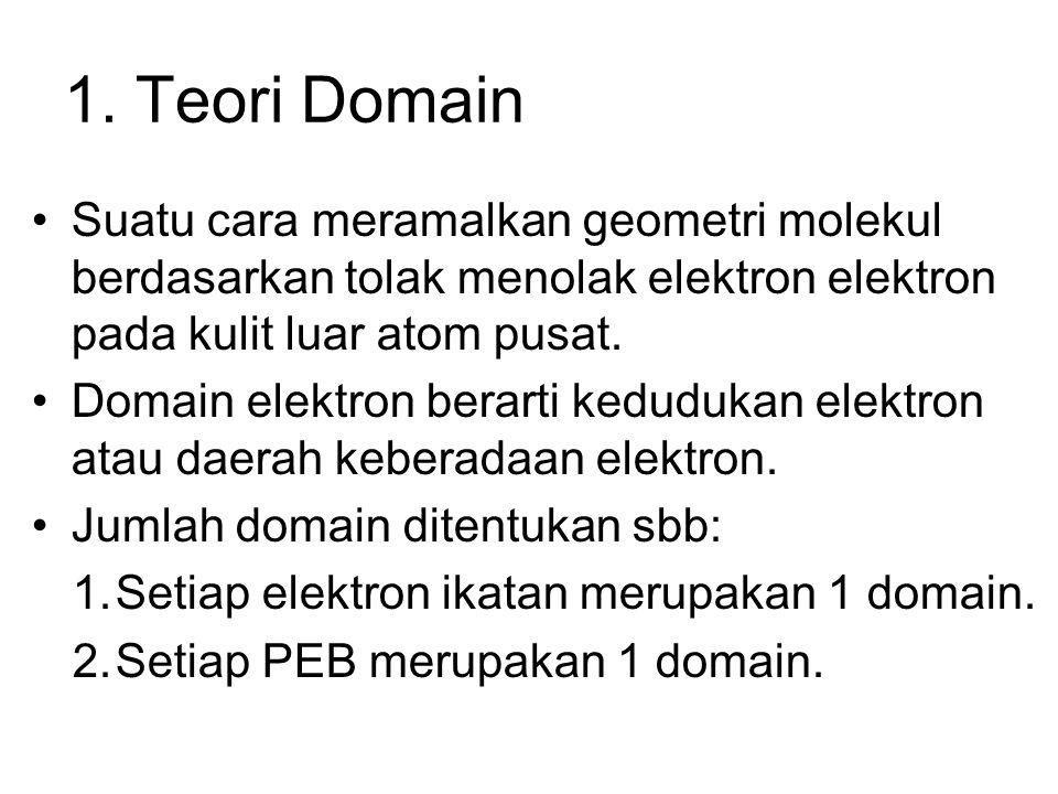 1. Teori Domain Suatu cara meramalkan geometri molekul berdasarkan tolak menolak elektron elektron pada kulit luar atom pusat.