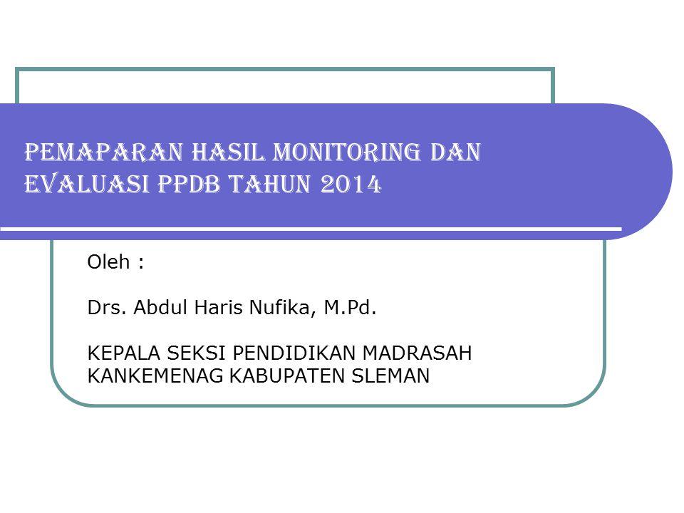 PEMAPARAN HASIL MONITORING DAN EVALUASI PPDB TAHUN 2014