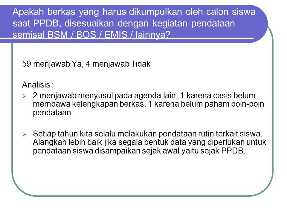 Apakah berkas yang harus dikumpulkan oleh calon siswa saat PPDB, disesuaikan dengan kegiatan pendataan semisal BSM / BOS / EMIS / lainnya
