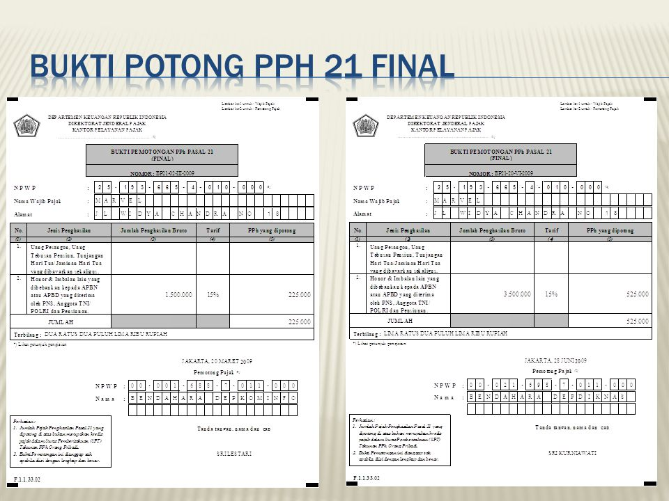 Bukti Potong PPh 21 final