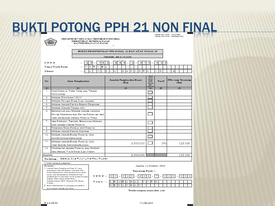 Bukti potong pph 21 non final