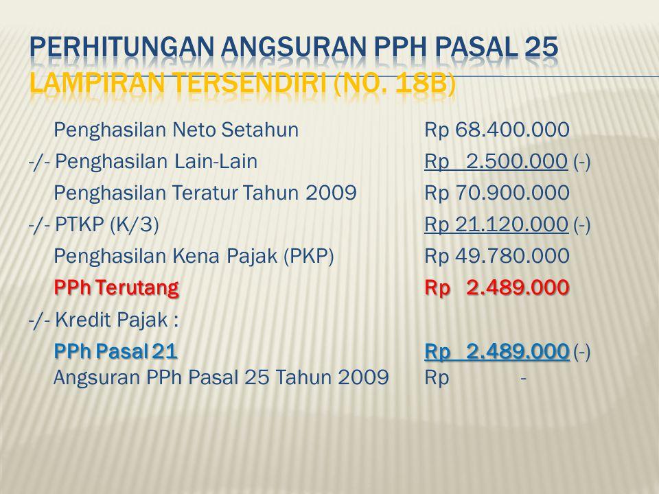 Perhitungan Angsuran PPh Pasal 25 Lampiran tersendiri (No. 18b)