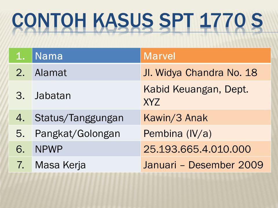 Contoh kasus spt 1770 s 1. Nama Marvel 2. Alamat