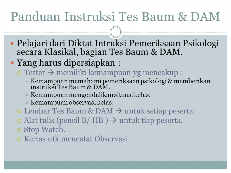 Panduan Instruksi Tes Baum & DAM