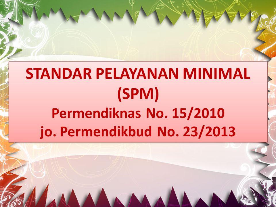 STANDAR PELAYANAN MINIMAL (SPM) Permendiknas No. 15/2010 jo