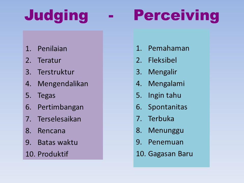 Judging - Perceiving Pemahaman Penilaian Fleksibel Teratur Mengalir