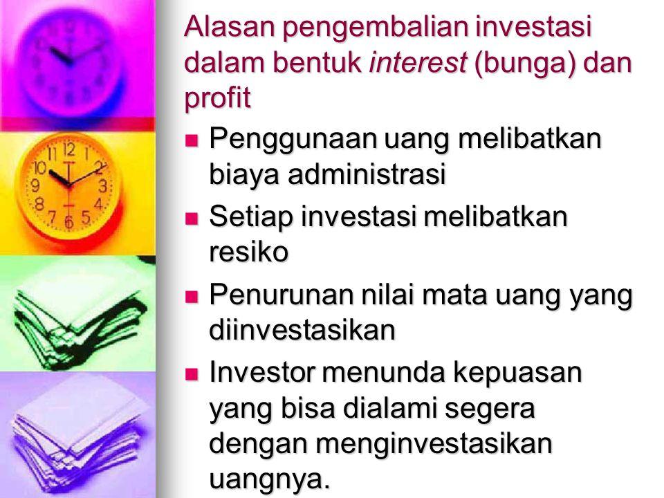 Alasan pengembalian investasi dalam bentuk interest (bunga) dan profit
