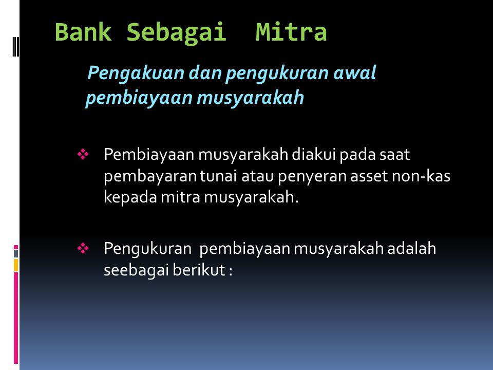 Bank Sebagai Mitra Pengakuan dan pengukuran awal pembiayaan musyarakah