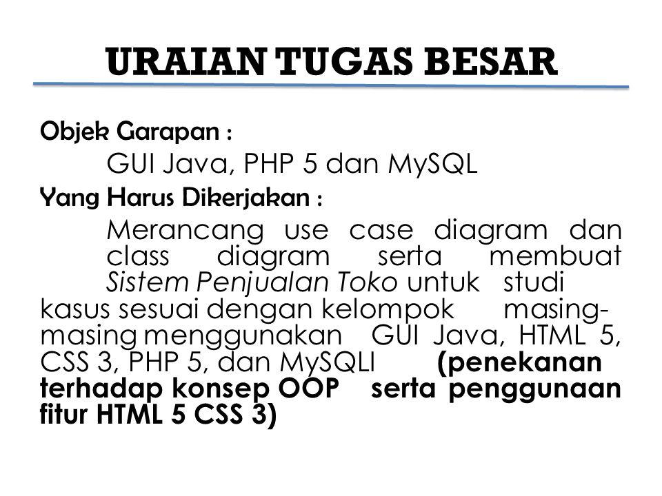 URAIAN TUGAS BESAR Objek Garapan : GUI Java, PHP 5 dan MySQL