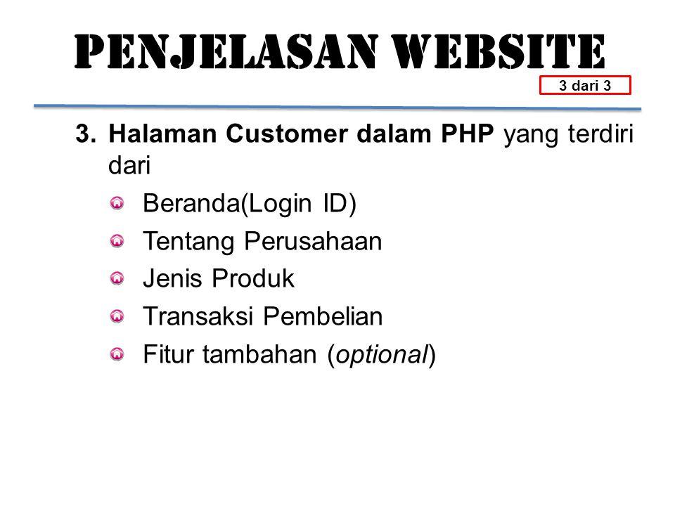 PENJELASAN WEBSITE 3. Halaman Customer dalam PHP yang terdiri dari