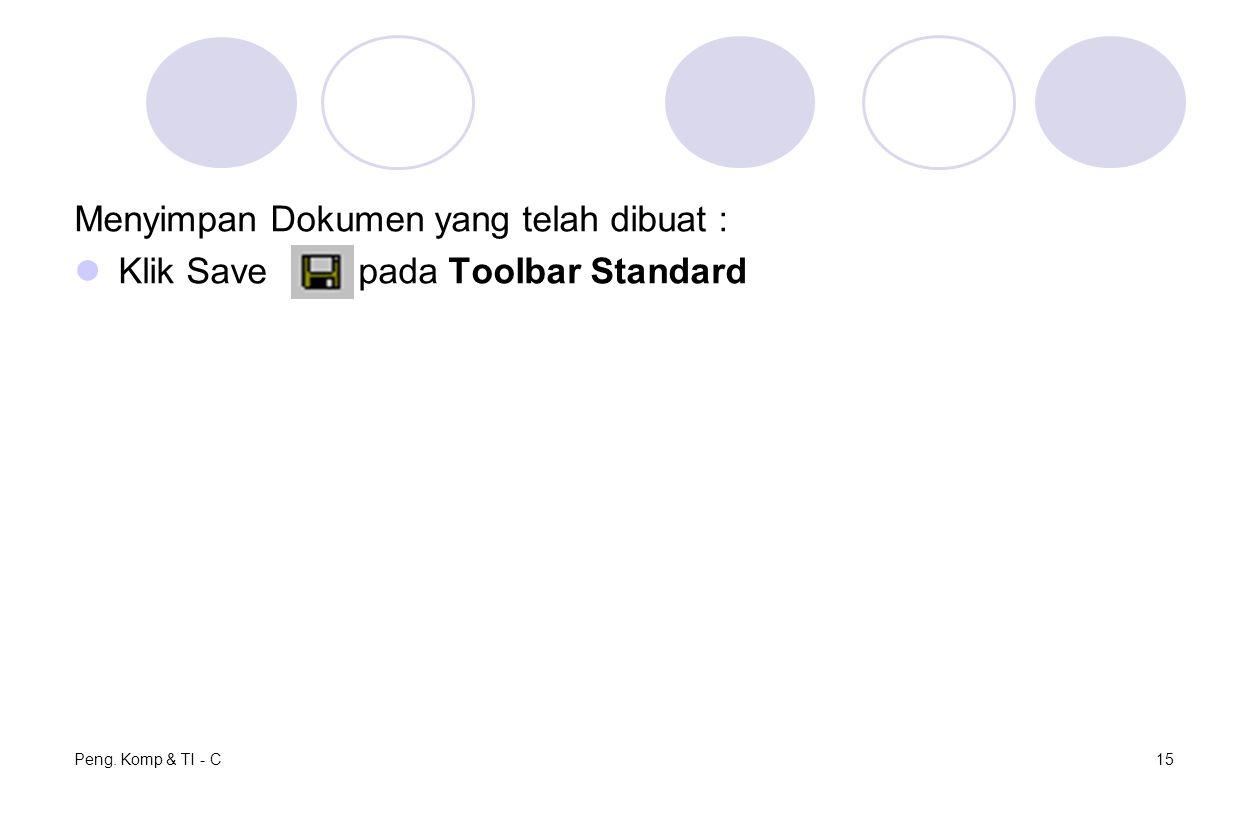 Menyimpan Dokumen yang telah dibuat : Klik Save pada Toolbar Standard