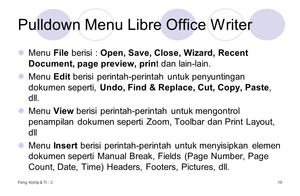 Pulldown Menu Libre Office Writer
