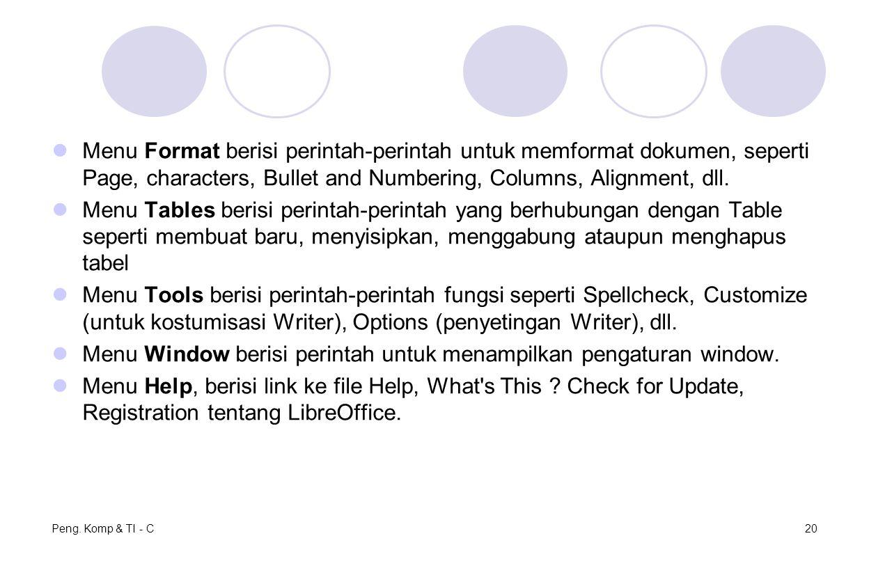 Menu Window berisi perintah untuk menampilkan pengaturan window.