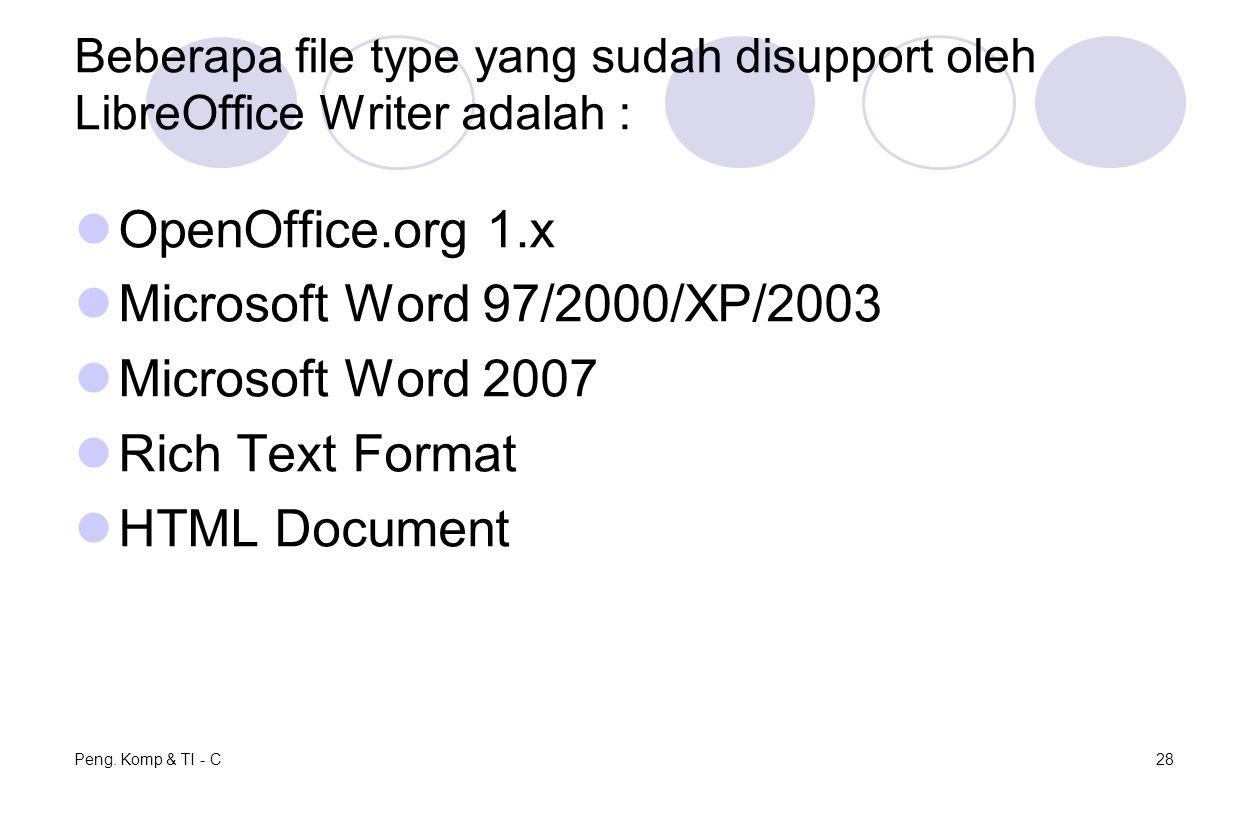 OpenOffice.org 1.x Microsoft Word 97/2000/XP/2003 Microsoft Word 2007