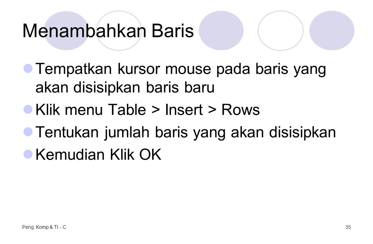 Menambahkan Baris Tempatkan kursor mouse pada baris yang akan disisipkan baris baru. Klik menu Table > Insert > Rows.