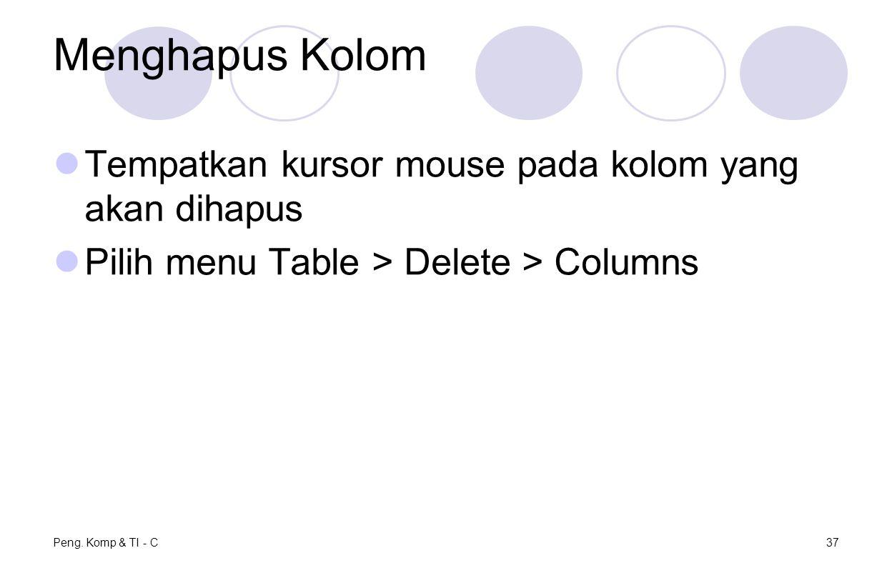 Menghapus Kolom Tempatkan kursor mouse pada kolom yang akan dihapus