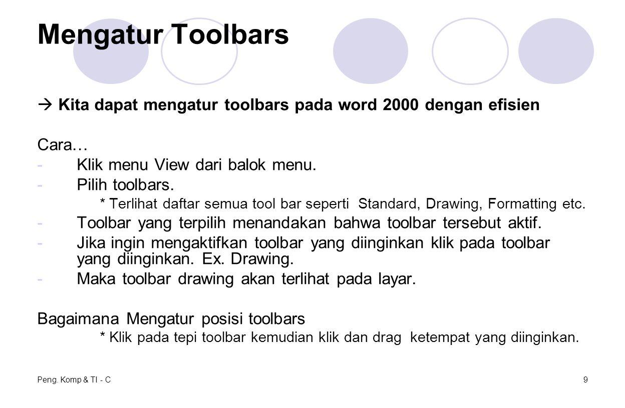 Mengatur Toolbars  Kita dapat mengatur toolbars pada word 2000 dengan efisien. Cara… Klik menu View dari balok menu.