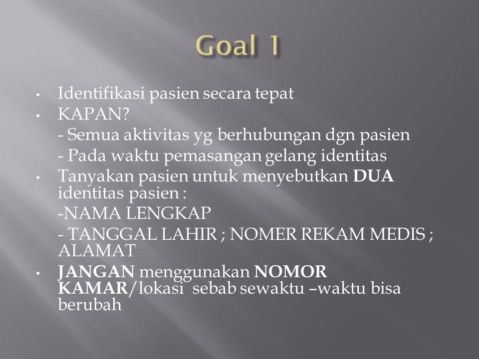 Goal 1 Identifikasi pasien secara tepat KAPAN