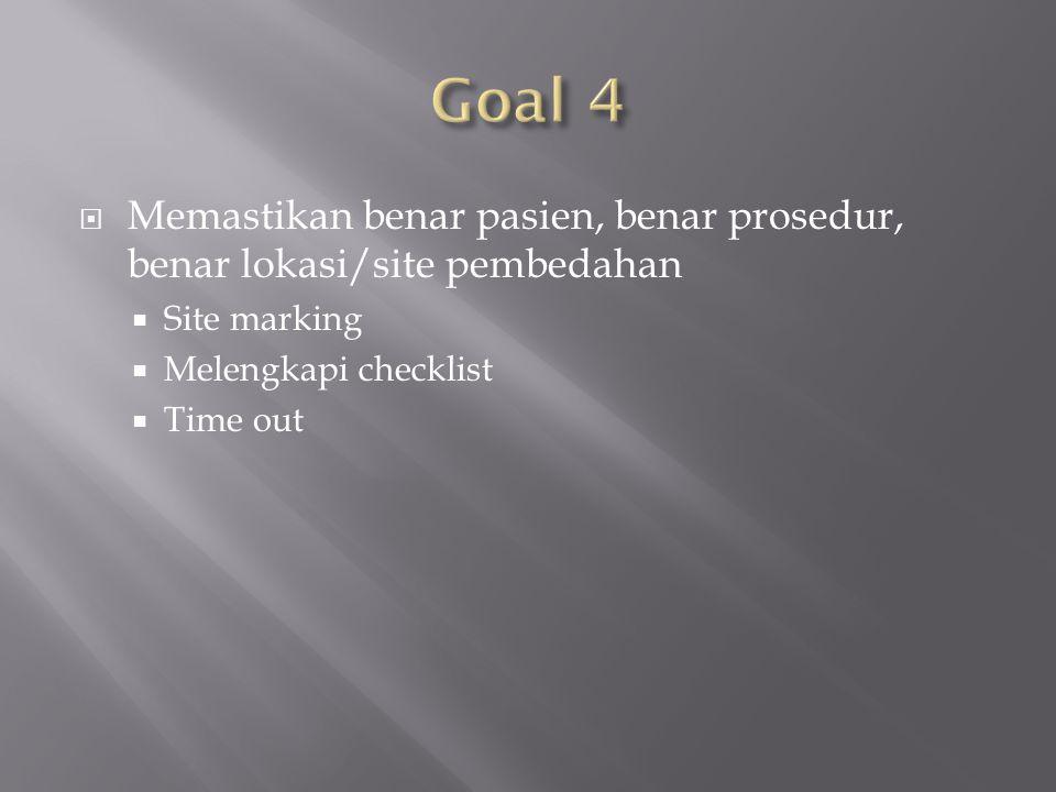 Goal 4 Memastikan benar pasien, benar prosedur, benar lokasi/site pembedahan. Site marking. Melengkapi checklist.