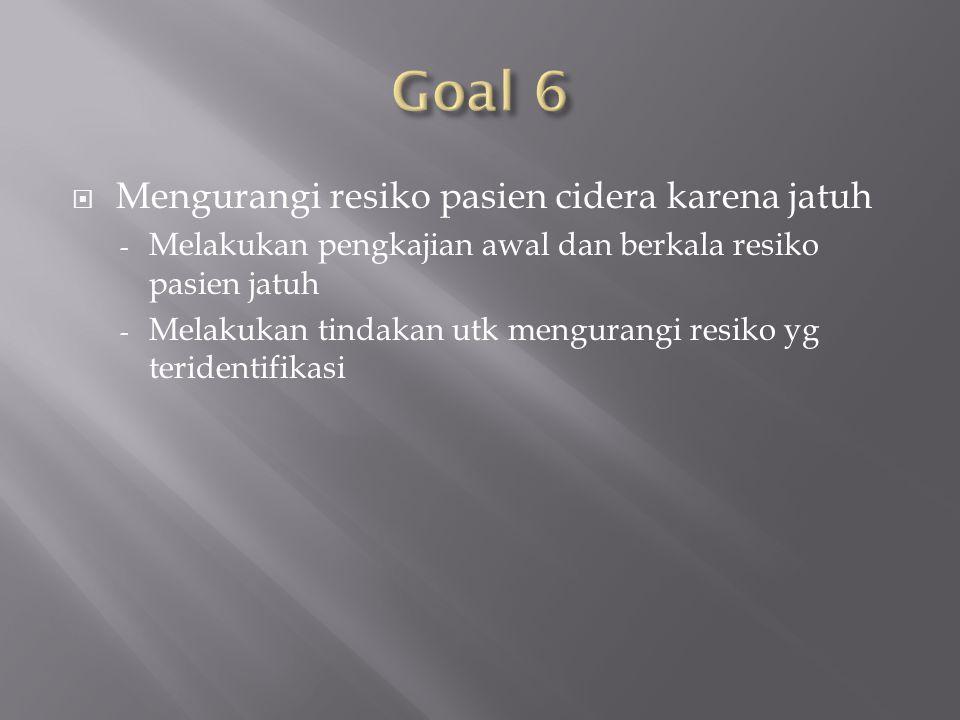 Goal 6 Mengurangi resiko pasien cidera karena jatuh