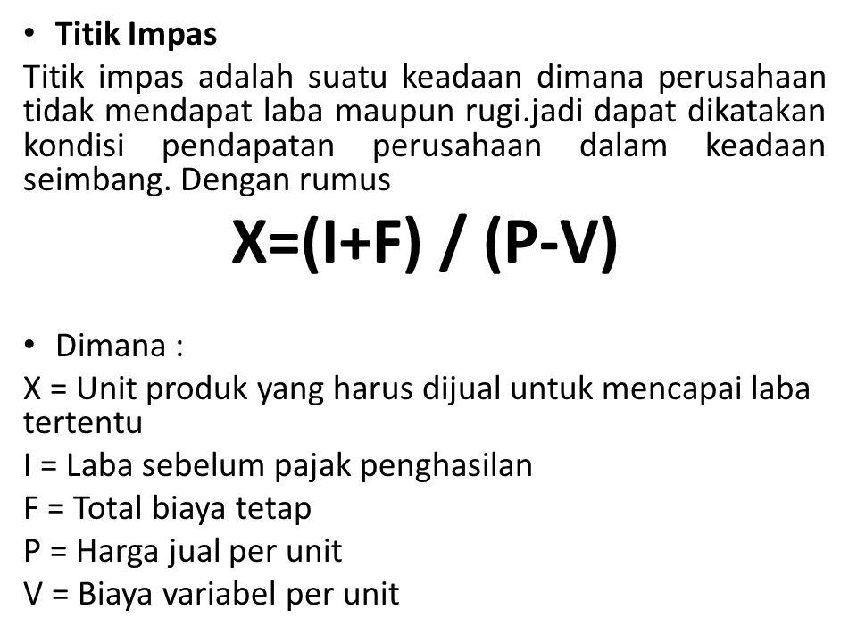 X=(I+F) / (P-V) Titik Impas