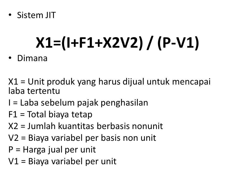 X1=(I+F1+X2V2) / (P-V1) Sistem JIT Dimana