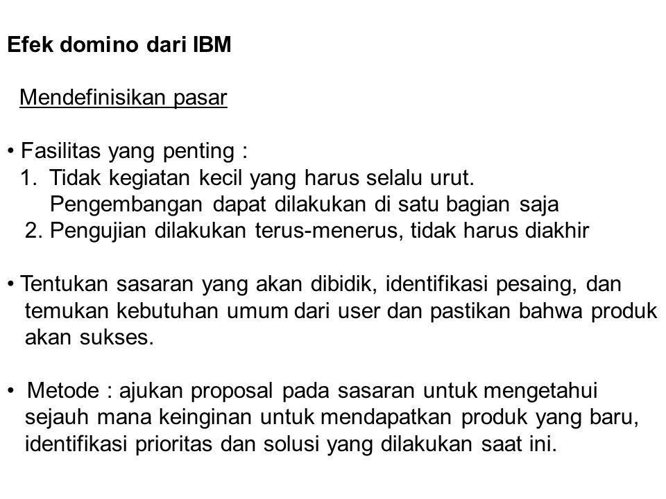 Efek domino dari IBM Mendefinisikan pasar. • Fasilitas yang penting : 1. Tidak kegiatan kecil yang harus selalu urut.