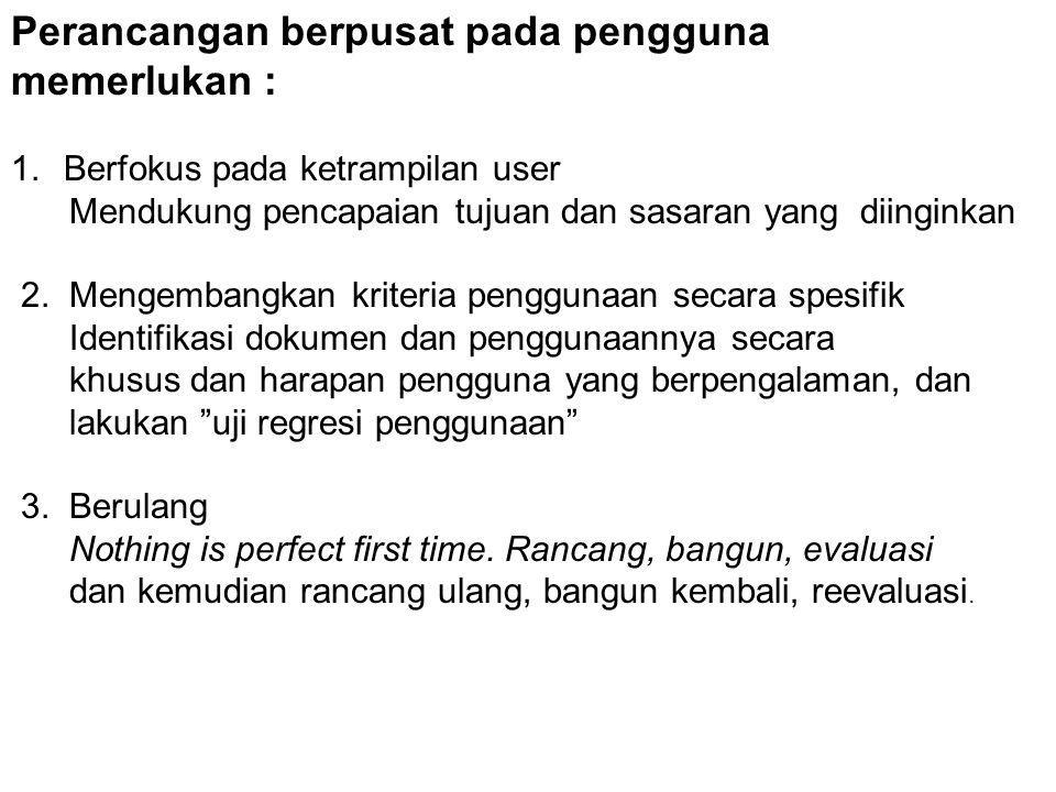 Perancangan berpusat pada pengguna memerlukan :