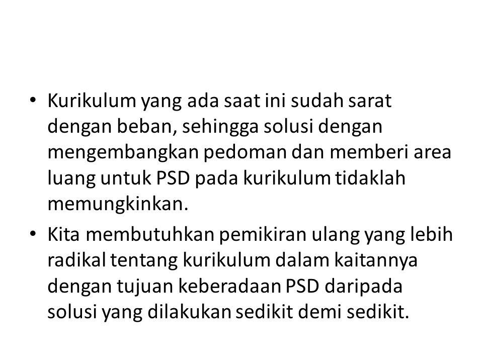 Kurikulum yang ada saat ini sudah sarat dengan beban, sehingga solusi dengan mengembangkan pedoman dan memberi area luang untuk PSD pada kurikulum tidaklah memungkinkan.