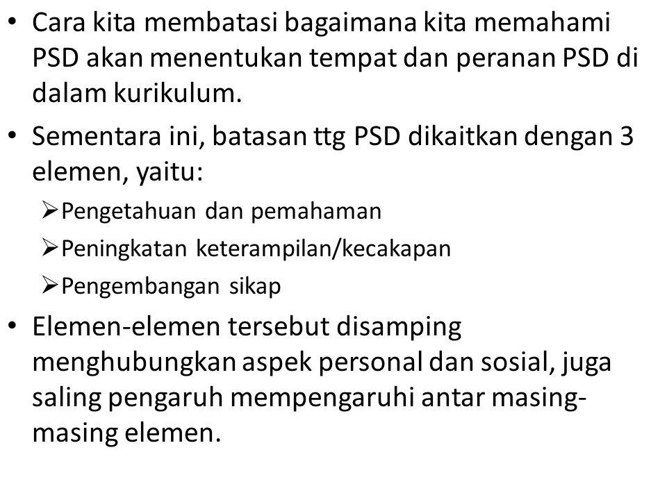 Sementara ini, batasan ttg PSD dikaitkan dengan 3 elemen, yaitu: