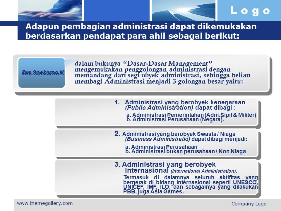 Adapun pembagian administrasi dapat dikemukakan berdasarkan pendapat para ahli sebagai berikut:
